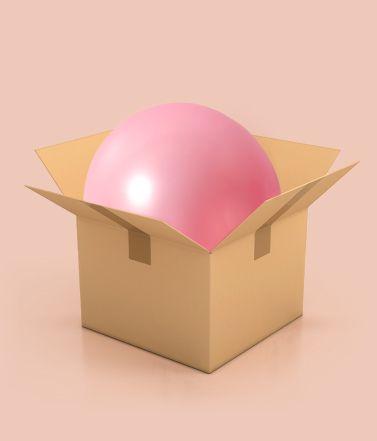 Rendering di pallone rosa dentro scatola di cartone | Daflon® 500